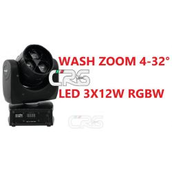 LED TMH-14 TESTA MOBILE WASH RGBW 3X12W CON ZOOM 4-32 GRADI